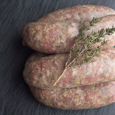 pork and herb, garlic sausages